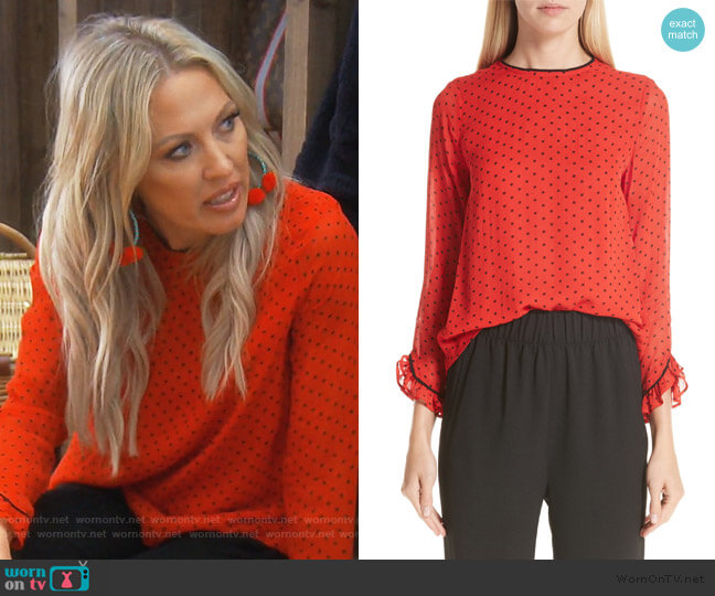 Print Georgette Blouse by Ganni worn by Braunwyn Windham-Burke  on The Real Housewives of Orange County