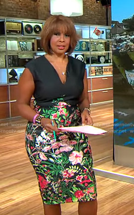 Gayle's black floral v-neck dress on CBS This Morning