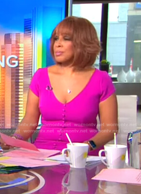 Gayle's purple buttoned v-neck dress on CBS This Morning
