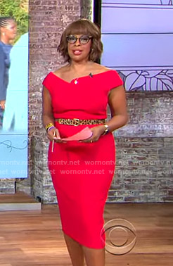 Gayle's red asymmetric neckline dress on CBS This Morning