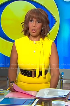 Gayle's yellow tie neck dress on CBS This Morning