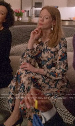 Gemma's abstract printed long sleeve midi dress on Four Weddings and a Funeral