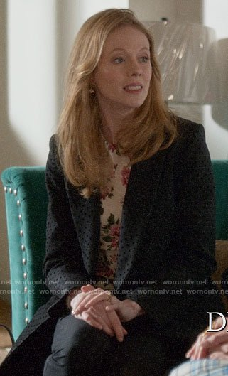Gemma's black polka dot coat on Four Weddings and a Funeral