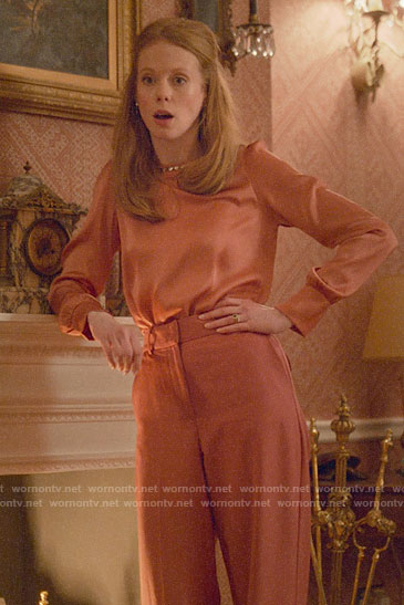 Gemma's coral embellished blouse on Four Weddings and a Funeral