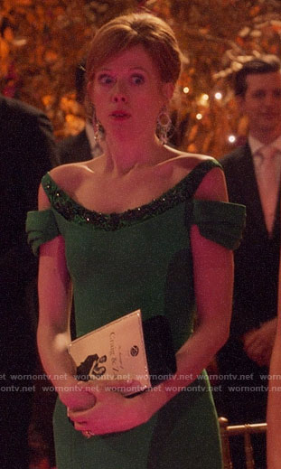 Gemma's green cold-shoulder gown on Four Weddings and a Funeral