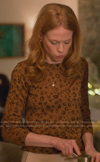 Gemma's leopard print sweater on Four Weddings and a Funeral