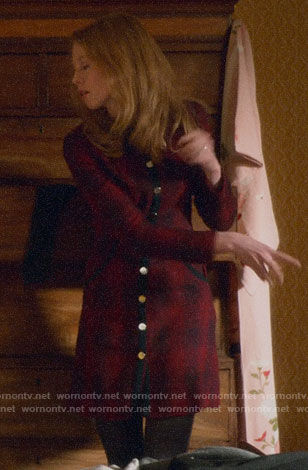 Gemma's plaid button front dress on Four Weddings and a Funeral
