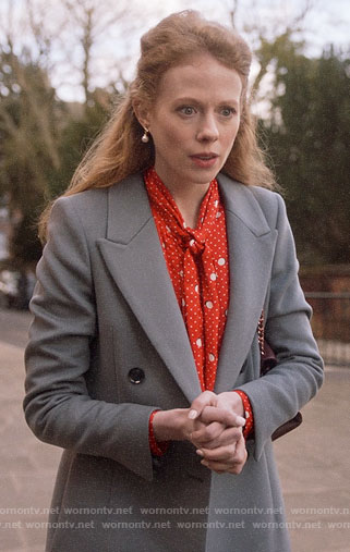 Gemma's red polka dot blouse and grey coat on Four Weddings and a Funeral