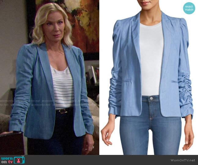 Generation Love Juniper Ruched Sleeve Blazer worn by Brooke Logan (Katherine Kelly Lang) on The Bold & the Beautiful