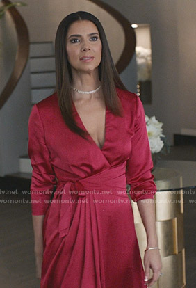 Gigi's pink wrap dress on Grand Hotel