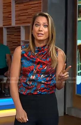Ginger's printed sleeveless top on Good Morning America