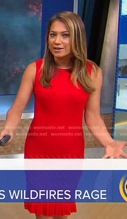 Ginger's red sleeveless dress on Good Morning America