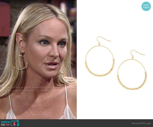 Gorjana Laguna Drop Hoops worn by Sharon Collins (Sharon Case) on The Young & the Restless