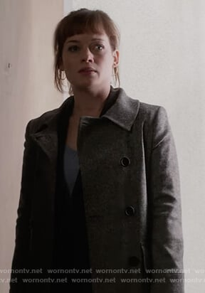 Lisa's gray double breasted coat on What/If