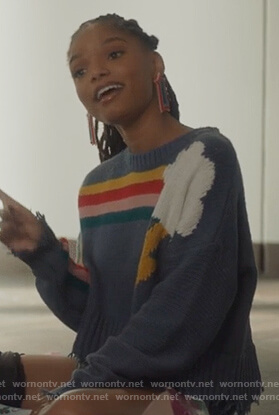 Skylar's cropped rainbow stripe sweater on Grown-ish