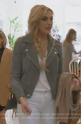 Gina's gray suede moto jacket on The Real Housewives of Orange County