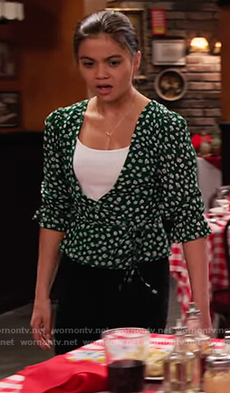 Nick's green floral wrap top on No Good Nick