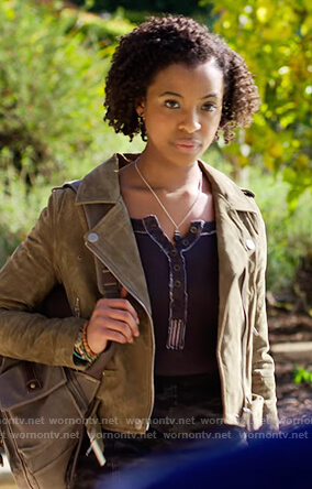 Ani's suede moto jacket and top on 13 Reasons Why
