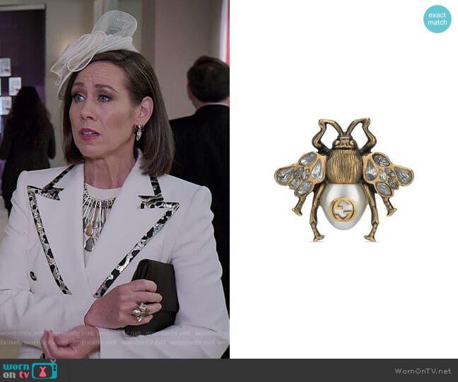 Bee Ring with Crystals and Pearl by Gucci worn by Diana Trout (Miriam Shor) on Younger