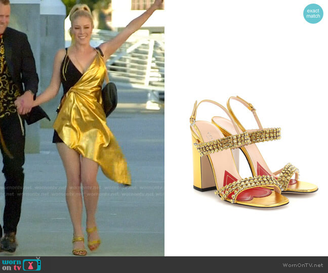 Gucci Crystal metallic leather sandals worn by Heidi Montag  on The Hills New Beginnings