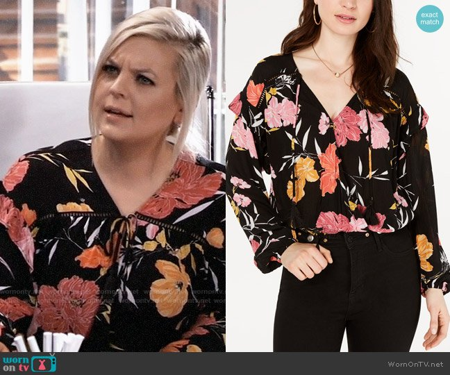 Guess Floral-Print Long-Sleeve Top worn by Maxie Jones (Kirsten Storms) on General Hospital