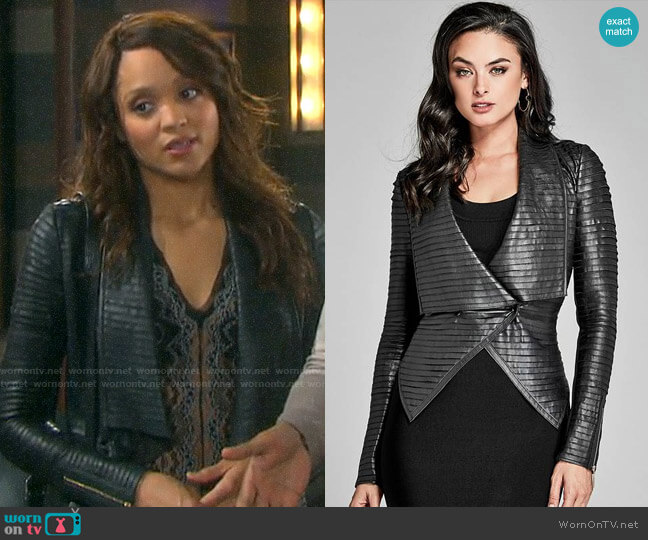 Guess Shayna Drape Leather Jacket worn by Lani Price (Sal Stowers) on Days of our Lives
