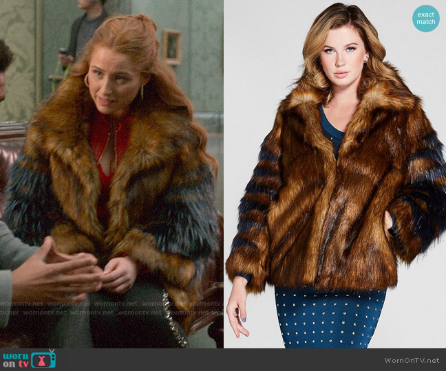 Guess Jensey Faux Fur Coat worn by Zara (Sophia La Porta) on Four Weddings & a Funeral