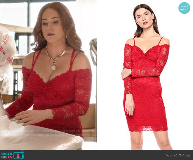 Guess Gabbie Lace Dress worn by Zara (Sophia La Porta) on Four Weddings & a Funeral