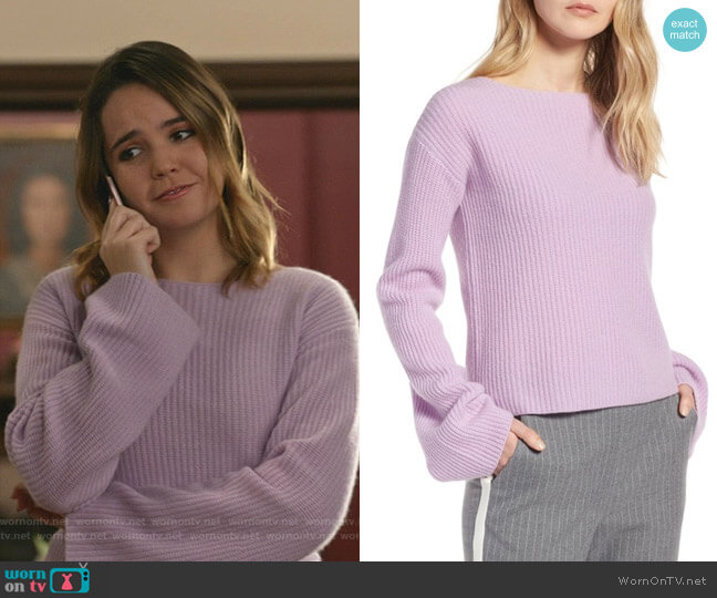 Bell Sleeve Cashmere Sweater by Halogen worn by Grace Russell (Bailee Madison) on Good Witch