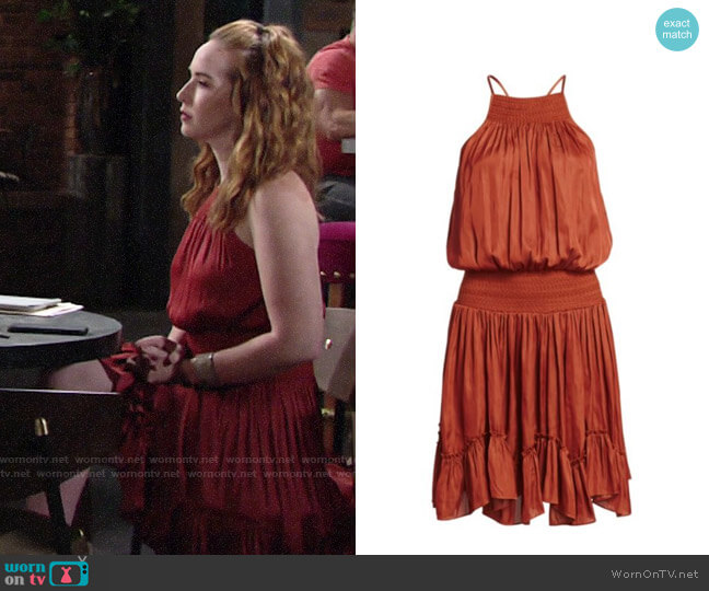 Halston Gathered Smocked Dress worn by Mariah Copeland (Camryn Grimes) on The Young & the Restless