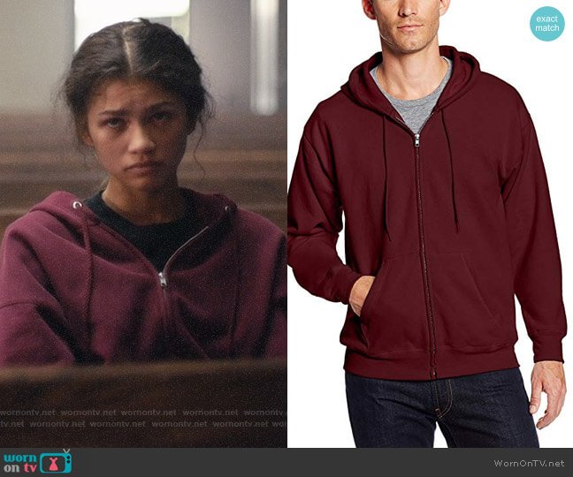 Hanes Mens Full Zip Hoodie in Maroon worn by Rue Bennett (Zendaya) on Euphoria