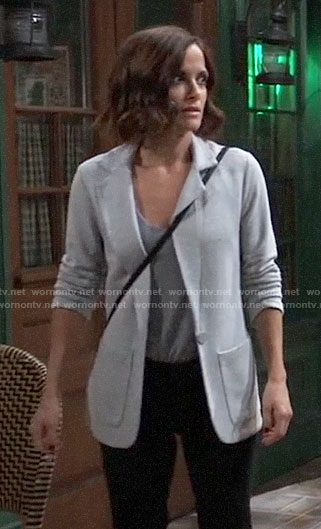 Hayden's grey knit blazer on General Hospital