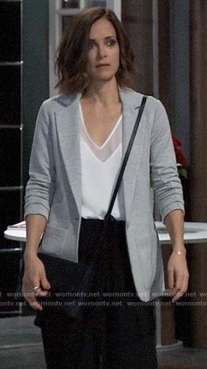 Hayden's grey knit blazer on General Hospital