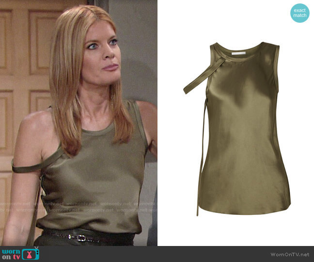 Helmut Lang Draped Satin Tank worn by Phyllis Summers (Michelle Stafford) on The Young & the Restless