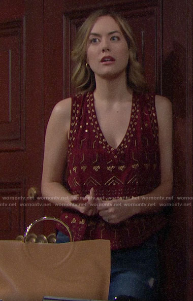 Hope's bead embellished tank top on The Bold and the Beautiful