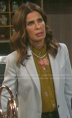 Hope's yellow floral ruffle neck blouse on Days of our Lives