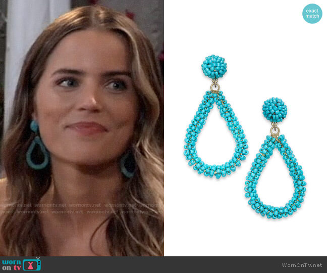 INC International Concepts Beaded Teardrop Drop Earrings worn by Sasha Gilmore (Sofia Mattsson) on General Hospital