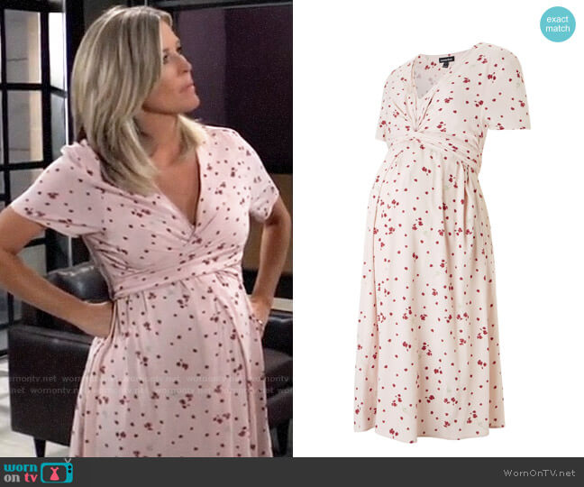 Isabella Oliver Leonie Maternity Tie Dress worn by Carly Corinthos (Laura Wright) on General Hospital