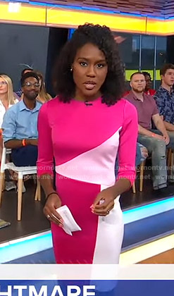Janai's pink colorblock dress on Good Morning America