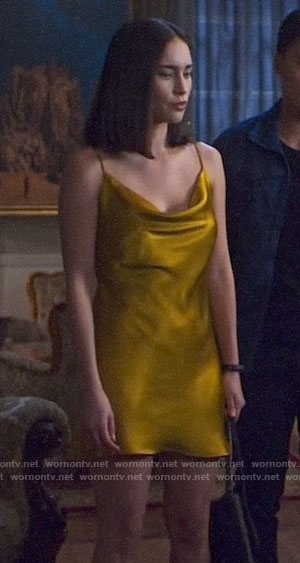 Jax's yellow mini slip dress on Pandora