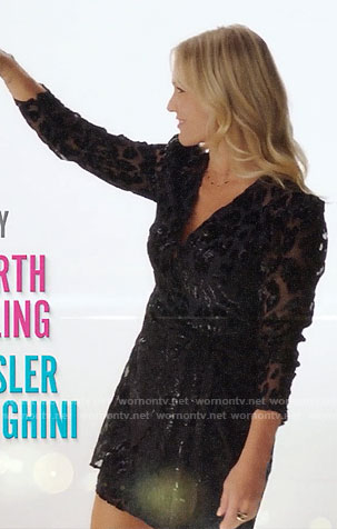 Jennie Garth's black leopard dress on BH90210 intro
