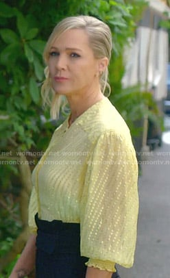 Jennie's yellow metallic blouse on BH90210