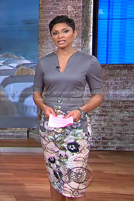 Jericka's grey floral belted dress on CBS This Morning