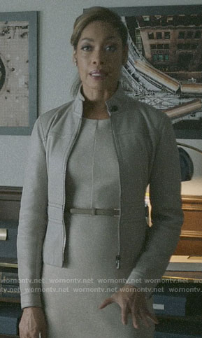 Jessica's grey sheath dress and peplum jacket on Pearson