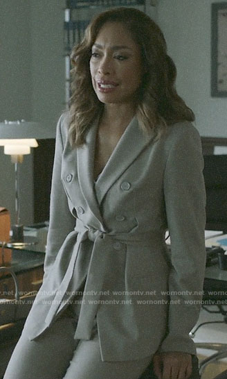Jessica's tie waist blazer on Pearson