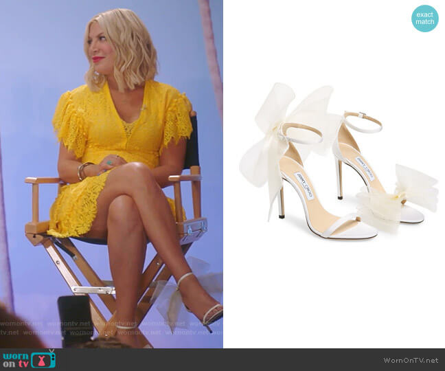 Aveline Bow Ankle Strap Sandal by Jimmy Choo worn by Tori Spelling  on BH90210