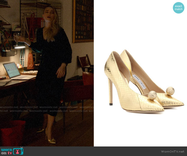 Jimmy Choo Sadira 100 snakeskin pumps worn by Ainsley Howard (Rebecca Rittenhouse) on Four Weddings & a Funeral