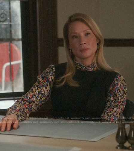 Joan's floral blouse on Elementary
