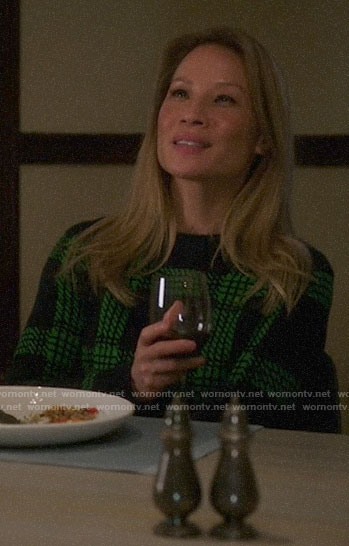 Joan's green plaid sweater on Elementary