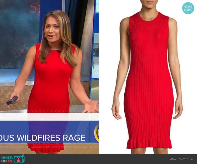 Ribbed Ruffle-Hem Dress by John + Jenn worn by Ginger Zee  on Good Morning America